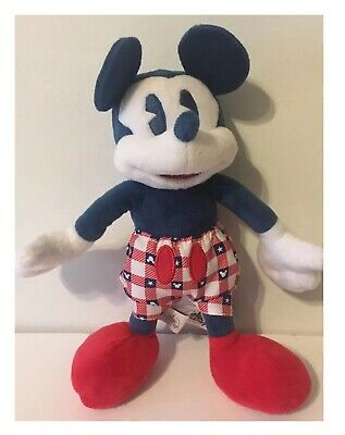 Disney Parks American Original Mickey Mouse Blue Red White Plush Toy Doll 11""