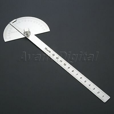 0-180 Degree Protractor Arm Stainless Steel 15cm Ruler Angle Finder Gauge Paint