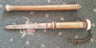 Antique Knife In Decorative Metel Sheath Swagger-Stick