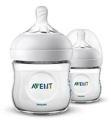 AVENT Natural Feeding Bottle 125mL x 2 Wide-Neck Bottles Natural Latch-On
