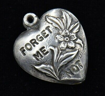 Vintage Forget Me Not Flower Floral Puffy Heart Sterling Silver Charm 925 Love