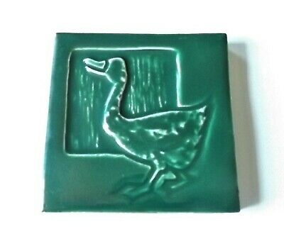ANTIQUE ARTS & CRAFTS MISSION Gloss Green Goose MOSAIC TILE COMPANY POTTERY TILE