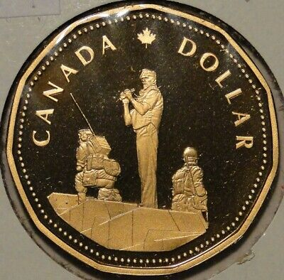 BU PR PF proof Canada 1995 peace keeper commemorate loonie dollar $1 coin