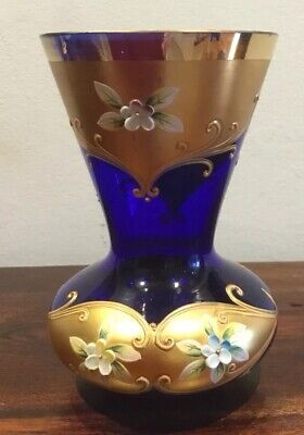 Beautiful Hand Painted Vintage Murano Glass Vase