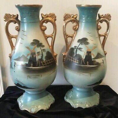 Magnificant Pair Of Antique Vase/urns Hand Painted Windmills