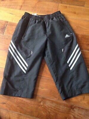 """Boys/ Mens Adidas 3/4 Length Tracksuit Bottoms Size 26"""" Fab Condition"""