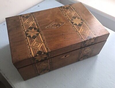 Antique Wooden Marquetry Detail Jewellery Sewing Box