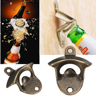 Beer Opener Bottle Wall Bar Iron Mount Soda Stainless Steel Vintage Ring Open US