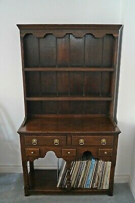 Small Antique Welsh Dresser, Dark Oak made by Maple & Co. Beautiful patination