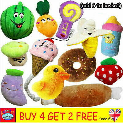 Pet Dog Soft Chew Toy Puppy Doggy Plush Sound Eggplant Carrot Squeaker 12 Type
