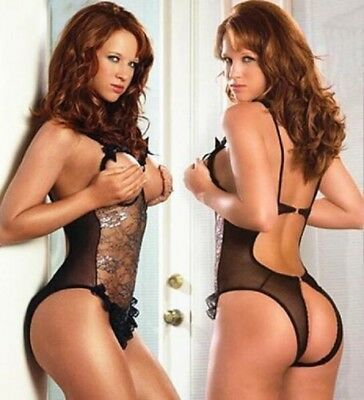 Crotchless Transparent Mesh Bodysuit with Open Front Cup /Sex Teddy Bodystocking