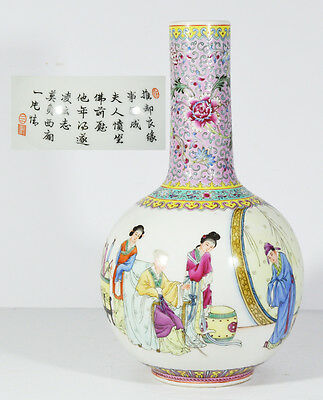 Large Chinese China Republic Famille Rose Vase With Calligraphy And Sign