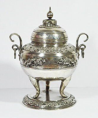 Early Silver Tripod Censer Indochina Chinese China Dragon Incense Burner