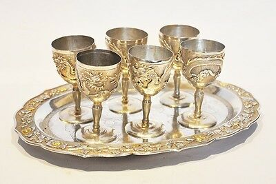 Antique Chinese Export Silver Tray And Cups Inlaid Gold