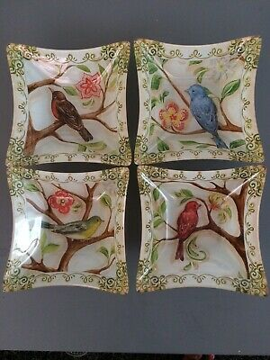 Glass Hand Painted Bird Trinket Bon Bon Dishes Set Of 4