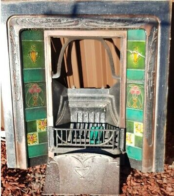 Antique Victorian Cast Iron Tiled Fireplace