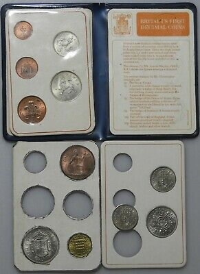 Britains first decimal coin set & 6 last of £sd coins