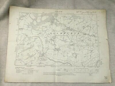 1910 Antique Map of East Sussex Kent Sandhurst Village Peters Green