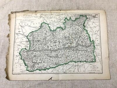1857 Antique Map of Surrey County England 19th Century Old Hand Coloured