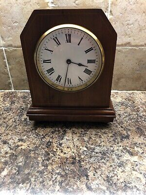 Vintage 8 Day Non Striking Mantel Clock With Mahogany Case On Brass Bun Feet
