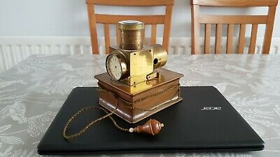 Unusual Edwardian Brass And Leather Electric? Lantern Clock For Restoration