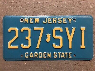 Vintage New Jersey License Plate  Garden State  Blue/White 237-Syi  Nice!!