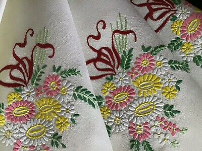 Beautiful Vintage Linen Hand Embroidered Tablecloth ~ Floral Ribboned Posies