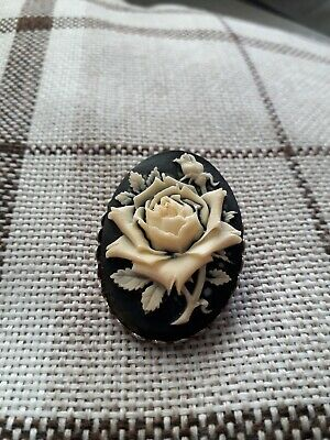fbe981a7ecc LARGE BLACK MOURNING Rose Cameo Brooch Pin Gothic Goth - £4.50 ...