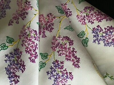 Gorgeous Vintage Linen Hand Embroidered Tablecloth ~ Trailing Lilac Blossoms