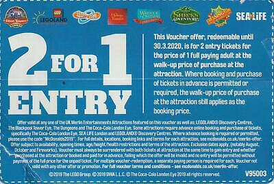 1 x 2 for 1 entry ticket for Alton Towers, Legoland, Thorpe Park, Warwick Castle