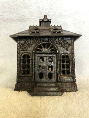 "Cast Iron Still Bank  ""small STATE BANK"" by Kenton"