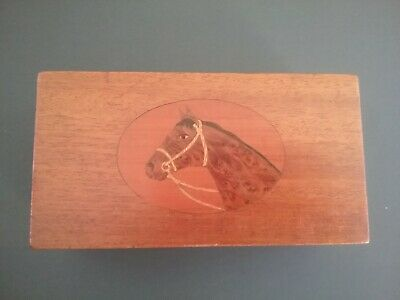 vintage wood box inlaid birdseye maple horse head music box Reuge beautiful
