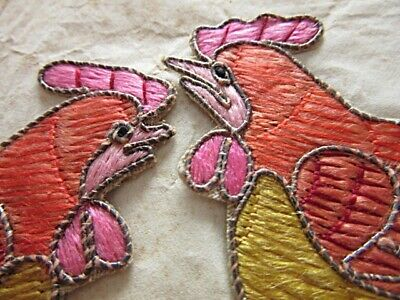 PAIR UNUSED VINTAGE FRENCH SILVER WIRE APPLIQUE EMBROIDERY CHICKENS or COCKEREL