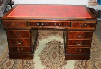 Antique Style Flame Mahogany Leather Top Executive Twin Pedestal Desk [5388]