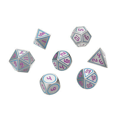 7Pcs Antique Metal Polyhedral Dices Role Playing Game Dices Set Multi-sided Dice