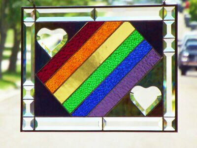 """•Matter of the Heart •Beveled Stained Glass Pride Panel • 18 1/4"""" x 13 7/8"""""""