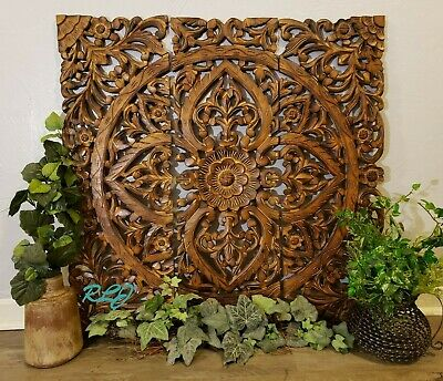 Large Rustic Tuscan Scrolling Square Brown Carved Wood Set/3 Wall Panels  Decor