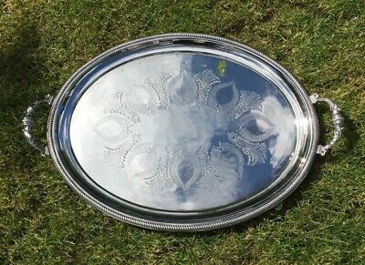 Huge Victorian Silver Plated Butlers Serving Tray 1872 Stunning