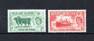 set of 2 mint QEII stamps from the falkland islands. 1955. cat.£2