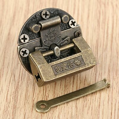 1Pc Antique Bronze Chinese Old Padlock Vintage Butterfly Lock Latch Clasp Hasp