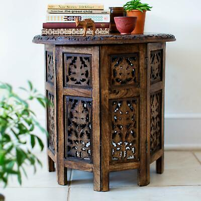 Small Antique Brown Moroccan Accent Side Table Oriental Folding Curved Wood 18""
