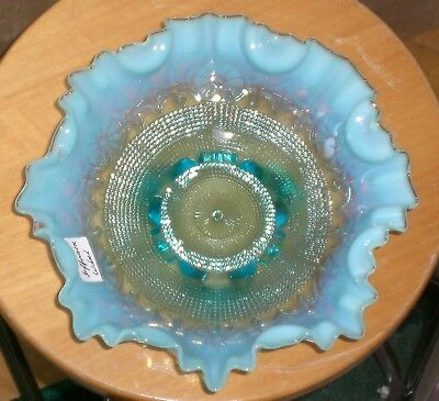 Antique Jefferson Art Glass French Blue Opalescent Wheel Pattern Ruffled Bowl