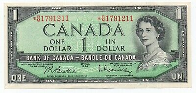 1954 Canadian 1 Dollar Banknote, Star Note *Bm179..... Mint, Crisp Condition