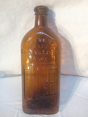 Vintage Apothecary Blown Brown Amber Glass Pharma Bottle Steam Warners