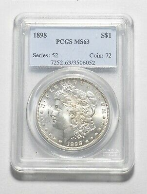 Choice Unc 1898 Morgan Silver Dollar - Graded PCGS - MS-63 *166