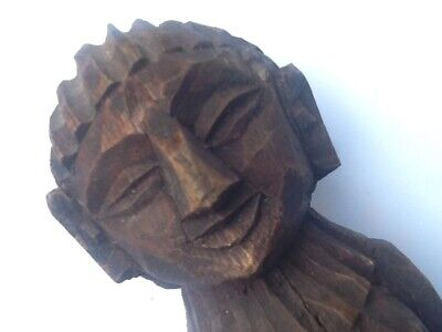 antique rare folk art wooden gothic carved figure great detail