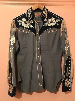 Vintage Antique Cowboy Western Shirt Handmade Pearl Buttons embroidered sz 10