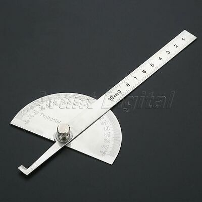 1Pc Stainless Steel 180 Degree Protractor Angle Ruler Rotary Measuring Hand Tool