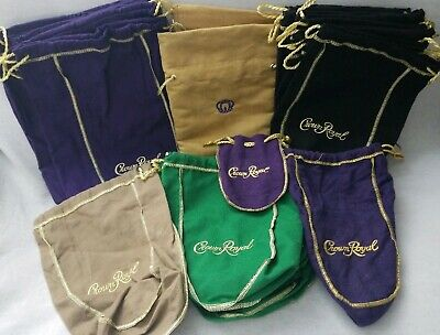 Crown Royal Bags Lot Of 25 Purple Green Brown Black Quilting Sewing Mixed Sizes