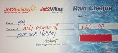 1 X Jet2Holidays £60 Rain Cheque voucher Valid until March 2020 NEW CODES